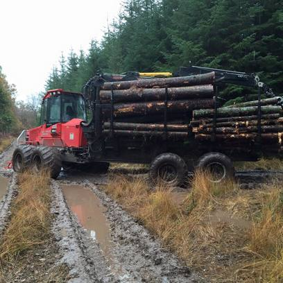Muddy Road with forestry contractors in Devon