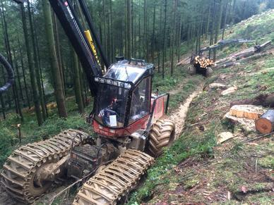 Tracked Machinery in Devon working on Steep Harvesting project